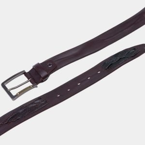 Кожаный коричневый мужской джинсовый ремень ATS-1821