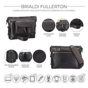 Стильная черная мужская сумка трансформер через плечо BRL-28404 222261