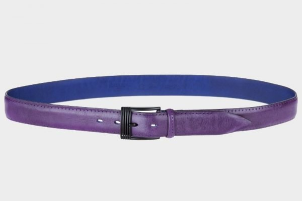 Кожаный фиолетовый мужской классический ремень ATS-128
