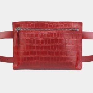 Солидная красная женская сумка на пояс ATS-2350