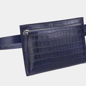 Вместительная синяя женская сумка на пояс ATS-2349 215428