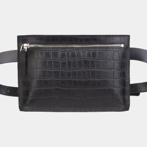 Модная черная женская сумка на пояс ATS-2348