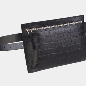 Модная черная женская сумка на пояс ATS-2348 215433