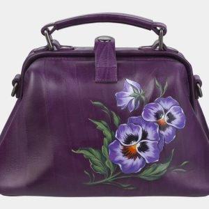 Деловая фиолетовая сумка с росписью ATS-2367