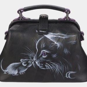 Функциональная черная сумка с росписью ATS-2369