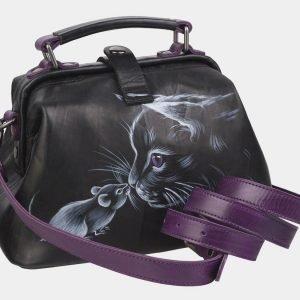 Функциональная черная сумка с росписью ATS-2369 215384