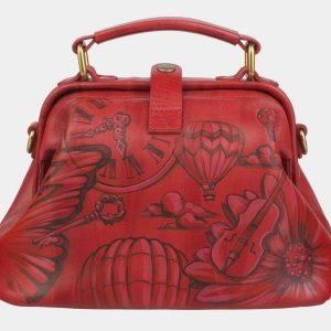 Вместительная красная сумка с росписью ATS-2371