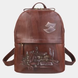 Стильный светло-коричневый рюкзак с росписью ATS-2366