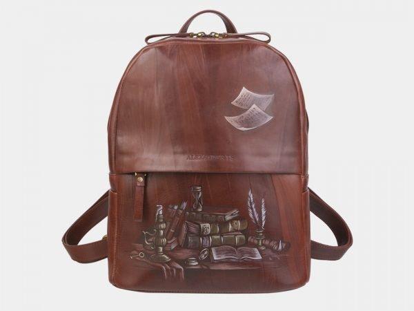 Солидный светло-коричневый рюкзак с росписью ATS-2366