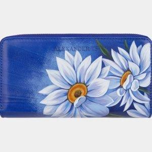 Деловой голубовато-синий портмоне с росписью ATS-3000