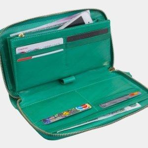 Функциональный зеленый портмоне с росписью ATS-3001 213701