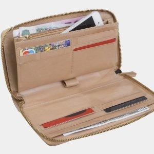 Солидный бежевый портмоне с росписью ATS-3002 213697