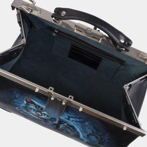 Вместительный черный саквояж с росписью ATS-3005