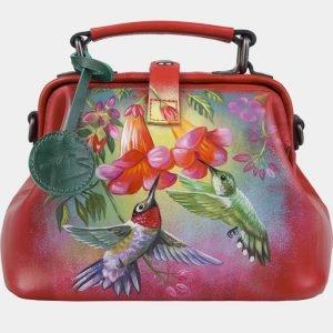 Функциональная красная сумка с росписью ATS-3010