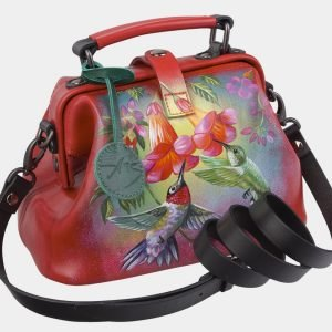 Функциональная красная сумка с росписью ATS-3010 213661