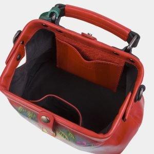 Функциональная красная сумка с росписью ATS-3010 213663
