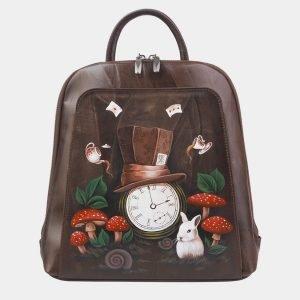 Вместительный коричневый рюкзак с росписью ATS-2374