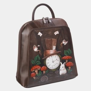Стильный коричневый рюкзак с росписью ATS-2374 215365