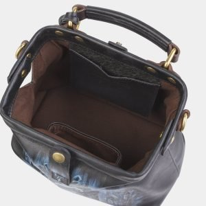 Уникальная черная сумка с росписью ATS-2379 215357