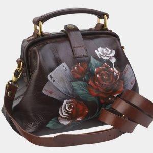 Солидная коричневая сумка с росписью ATS-2380 215350