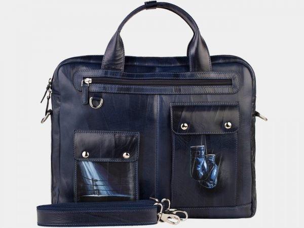 Функциональный синий портфель с росписью ATS-1892