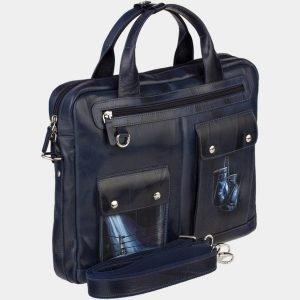 Функциональный синий портфель с росписью ATS-1892 216138