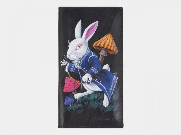 Модный черный портмоне с росписью ATS-2383