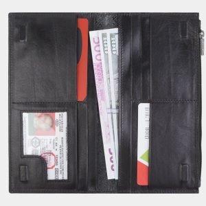 Уникальный черный портмоне с росписью ATS-2384 215338