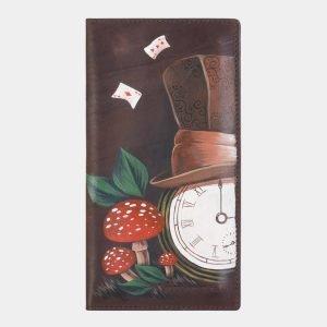 Кожаный коричневый портмоне с росписью ATS-2385