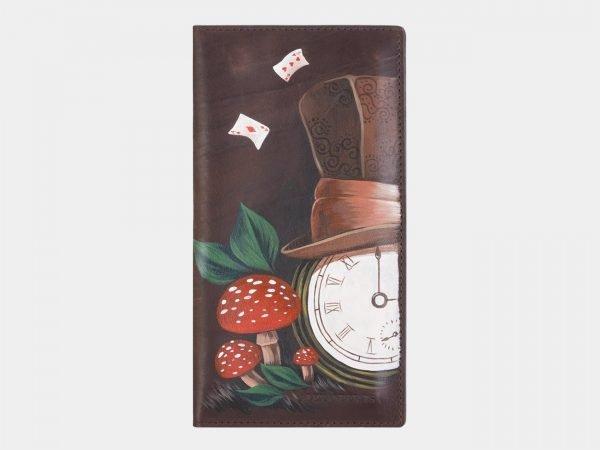 Солидный коричневый портмоне с росписью ATS-2385