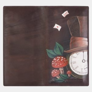 Солидный коричневый портмоне с росписью ATS-2385 215333