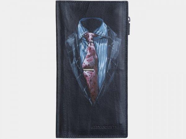 Вместительный черный портмоне с росписью ATS-1890