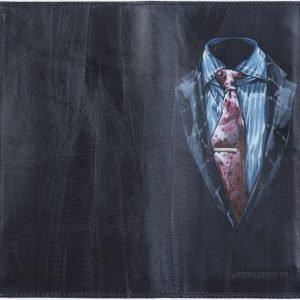 Вместительный черный портмоне с росписью ATS-1890 216146