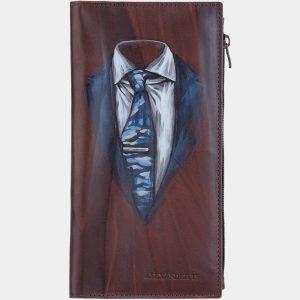 Солидный коричневый портмоне с росписью ATS-1891