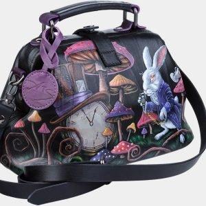 Кожаная черная сумка с росписью ATS-1887 216149