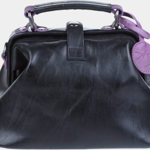 Кожаная черная сумка с росписью ATS-1887 216150