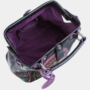 Кожаная черная сумка с росписью ATS-1887 216151