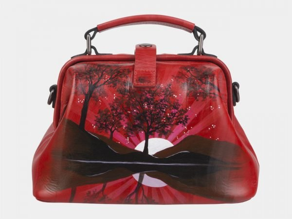 Вместительная красная сумка с росписью ATS-2390