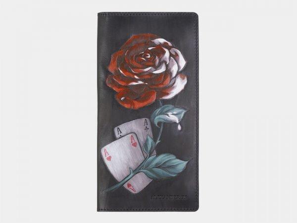 Кожаный черный портмоне с росписью ATS-2408