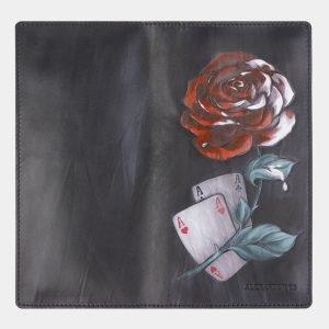Кожаный черный портмоне с росписью ATS-2408 215265