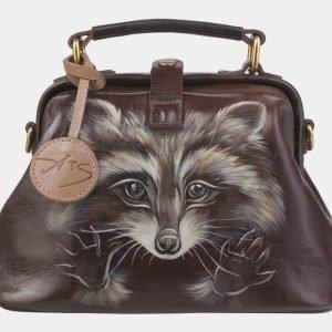 Функциональная коричневая сумка с росписью ATS-2421
