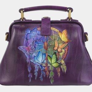 Уникальная фиолетовая сумка с росписью ATS-2422