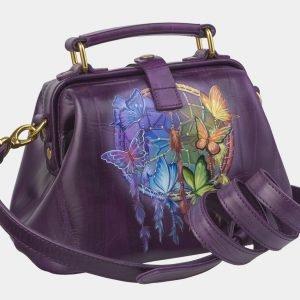 Уникальная фиолетовая сумка с росписью ATS-2422 215220