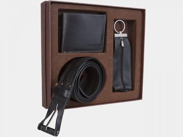 Кожаный черный подарочный набор ATS-1830
