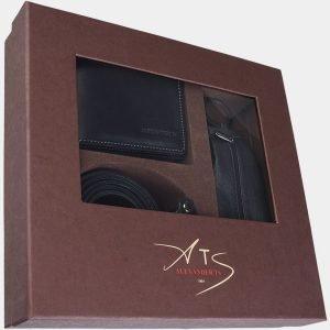 Кожаный черный подарочный набор ATS-1830 216256