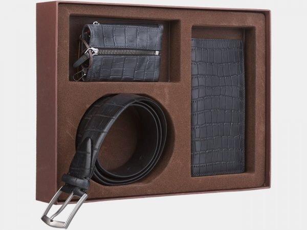 Кожаный черный подарочный набор ATS-1832