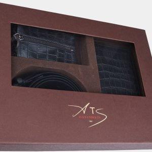 Кожаный черный подарочный набор ATS-1832 216250