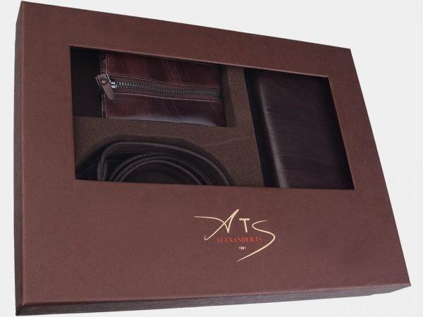 Кожаный коричневый подарочный набор ATS-1841