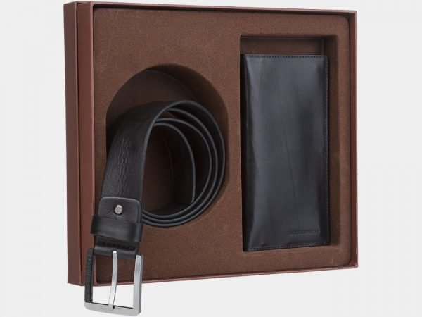 Кожаный черный подарочный набор ATS-1849