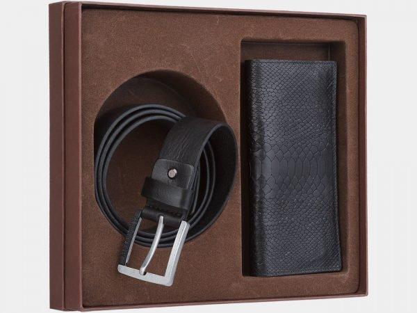 Кожаный черный подарочный набор ATS-1850